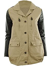 Beige L 12 - Valene New Womens Contrast Military Faux Leather Sleeve Parka Ladies Jacket Coat