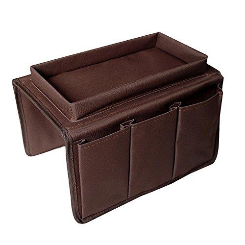 Sofa Armlehne Organizer mit Tablett, AOLVO Couch Stuhl Tisch Schrank Stauraum SAVER Fernbedienung Halterung passend für für Handy Book Zeitschriften 6 Pocket Coffee (Pocket Organizer Sofa)