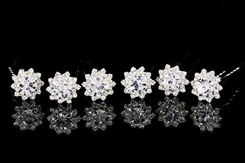 Set of 6 Sunflower Flower Blossom Crystal Hair Pins H099 by Venus Jewelry