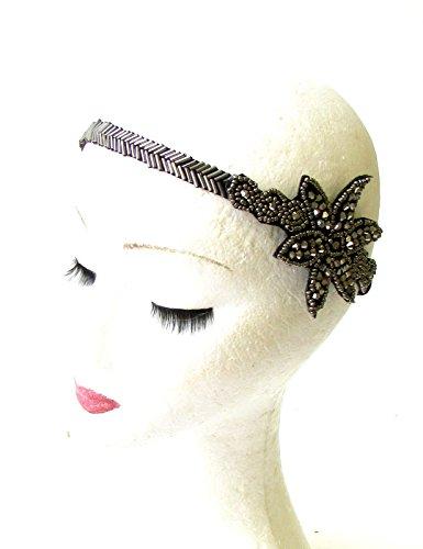 foncé Argent Gris Noir anthracite en perles années 1920 flapper Great Gatsby Bandeau 1308 * exclusivement Vendu par Starcrossed Beauty *