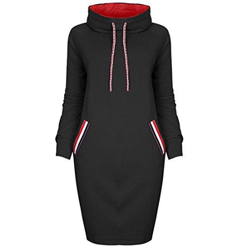 Marokkanische Kleidung Für Frauen (Frauen Winter Mini Kleid,FRIENDGG Damen Lange Ärmel Beiläufiges Hemd Knie-Länge solide Kleid Mode runden Kragen Rock Turtleneck lose schlankes Kleid (L, Schwarz))