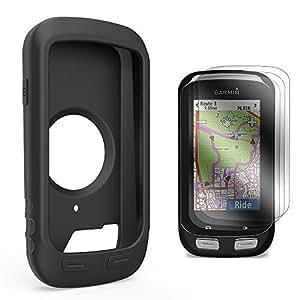 Garmin Edge 1000 Approach G8 Custodia in silicone + Screen Protector, TUSITA® sostituzione Protezione Soft Cover Bundle cordino Accessori per Garmin Edge 1000 GPS Bike Computer (NERO)