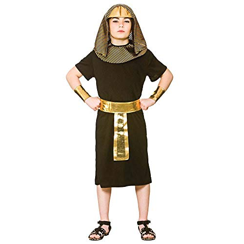 Pasa de nuevo con este disfraz de King egipcio para niños.    Incluye: túnica, collar, cinturón, puños y diadema.    Sandalias en la imagen no incluidas.    Perfecto para fiestas temáticas egipcias o históricas, día del libro, alrededor del mundo....