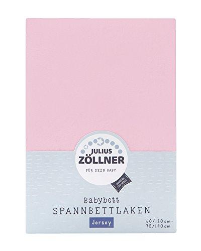 Julius Zöllner 8320147760 - Spannbetttuch Jersey für das Kinderbett, Größe: 60x120/70x140 cm, Farbe: rosa