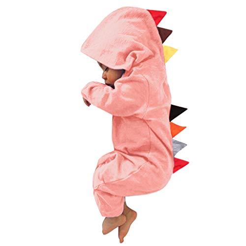 Alwayswin Baby Langarm Strampler Mit Kapuze Mädchen Jungen Dinosaurier Spielanzug Baumwolle Bodysuits Neugeborenes Overalls mit Kapuze Hoodie Jumpsuit Kapuzenpullover Sweatshirts