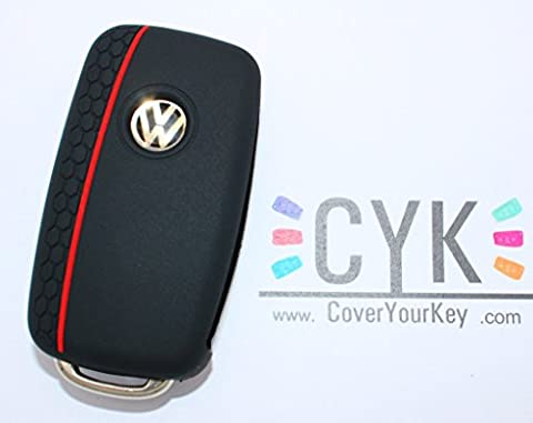 Schlüssel Hülle Silikon Schwarz/Rot VW A Wabe von Finest-Folia Golf 4 5 6 Skoda Octavia 2 3 Seat Mii Leon