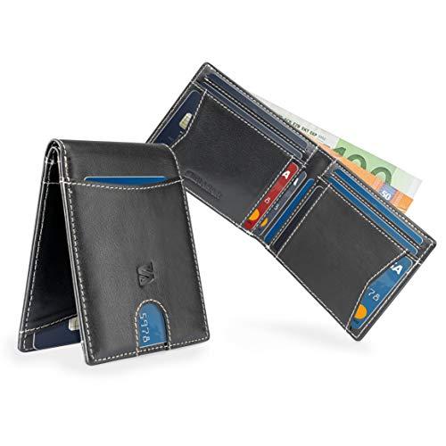 2867c079a Negro/Blanco Carteras de Hombre con Protección RFID y Caja de Regalo  Billeteras Cuero Billetero