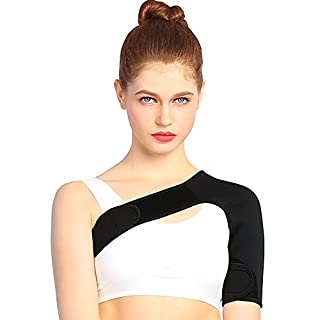 Left Shoulder Support Brace for Rotator Cuff Pain Relief, Lightweight Neoprene Shoulder and Arm Wrap to Alleviate Dislocated AC Joint Pain for Men and Women (S: 28