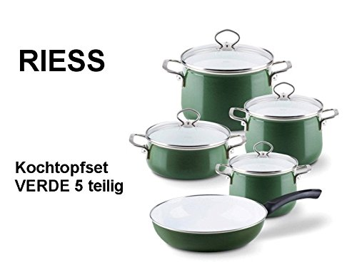 RIESS KELOmat Emaille Spar-Topfset 'Nouvelle Verde' grün 5-teilig mit Pfanne