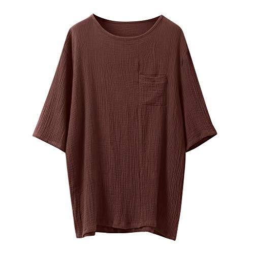 Bettwäsche aus Baumwolle Bluse Einfarbig Tops Kurzarm Retro T-Shirts(XX-Large,Braun) ()