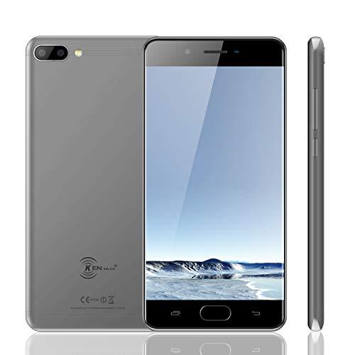 KENXINDA X6 Teléfono Móvil, Android 7.0 Móviles y Smartphones Libres (5.0 Pulgadas HD, MTK6737 Quad-Core 1.3GHz, 8+5+5MP Cámara, 3GB RAM + 32GB ROM, Batería con 3500mAh Smartphone) Gris