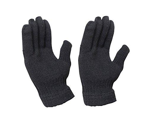 Krystle Woolen Black Hand Gloves Stretchable Woollen Men Women Girls Boys Unisex Warm Winter Wool Biker Mittens FreeSize Black 41PFDybF5jL