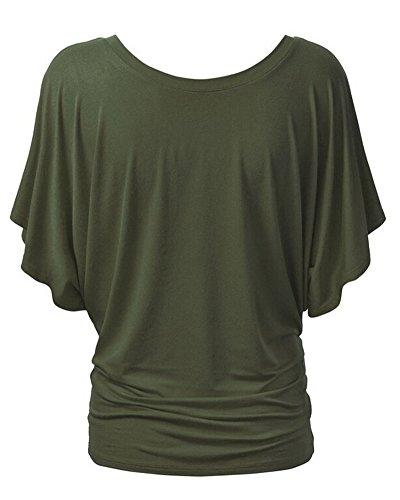 Chemise Femme T-shirts Baggy Manches Courtes Hauts Blouse Tops Vert Armée