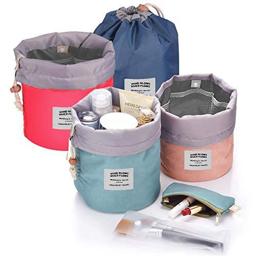 ANDERK 4 Stück Kosmetiktasche,Reise-Fass Kosmetikbeutel Makeup Bag Wasserdicht Große für Frauen und Mädchen