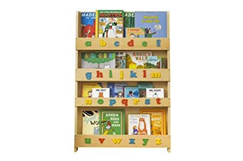Tidy Books Originale Kinder-Bücherregal mit Alphabet - Buchcover Werden Präsentiert - Schmales Regal Fürs Kinderzimmer - Ideale Kinderbücher Aufbewahrung - 115 x 77 x 7 cm (Natur mit Alphabet) (Bücherregal Bc)