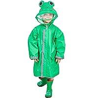 Bwiv Boys Girls Rain Poncho Hooded Kids Waterproof Reflective Raincoat Breathable Cute Animal Pattern with Adjustable Waist Windproof Cuff 2-10 Years