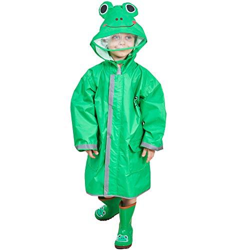 Bwiv impermeabile bambina poncho pioggia bambino mantella antipioggia bimbo con striscia riflettente leggero per i bambini 2-10 anni verde(rana) marca m 4-6 anni/statura: 110-125cm