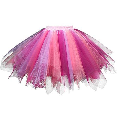 Karneval Erwachsene Damen 80's Tüllrock Tütü Röcke Tüll Petticoat Tutu Violett/Rosa