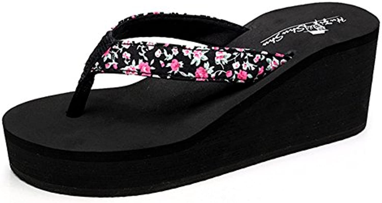 FEI Chanclas 6.5cm zapatos de tacón alto de verano femenino antideslizante zapatos sandalias (negro/beige/azul...