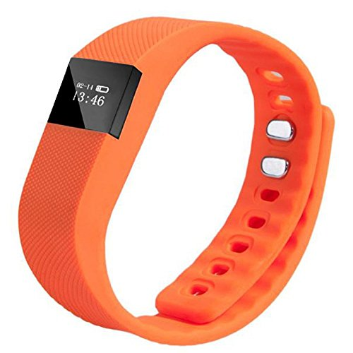Smart Bracelet, Rcool Bluetooth Smart Wristband Sleep Sports Fitness Monitor Activity Tracker Step Pedometer Smart Watch Bracelet Compatible with iPhone iOS and Android Phone (Orange)
