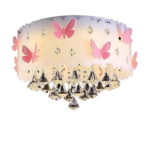 Moderne Deckenlampe Kristall Anhänger Prinzessin Mädchen Kinderzimmer Warm Romantische Hochzeit Zimmer Schlafzimmer Schmetterling E27 Lampen Runde Acryl Lampenschirm Farbpalette