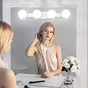 Led Spiegelleuchte,QYH Wiederaufladbar Schminklicht,Hollywood Stil 4 Lampe Dimmbar Make up Licht,Ohne kabel Tragbar Spiegellampe für Schminktisch Badzimmer Spiegel Beleuchtung Zubehö