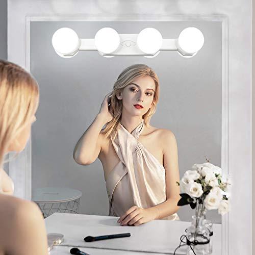 Qyh Luces para Espejos de Maquillaje, Sin cuerda,Recargable, Portátil con, 4 Luces Led Brillo Ajustable...