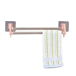 Danigrefinb Multifunktionaler Handtuchhalter für die Küche, Wandmontage, Badezimmer-Schrank, Aufhänger für Badezimmer, Doppelstangenhalter Rose