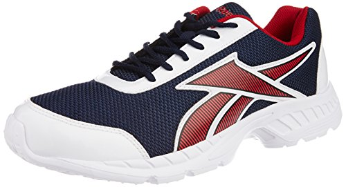 10. Reebok Men's Tec Encyst Lp Navy Blue, Red And White Mesh Running Shoes