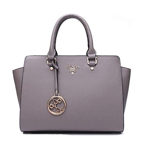 Yacn-Custodia in vera pelle da donna, maniglia superiore Handbag Queen-Borsa da donna con tracolla grigio