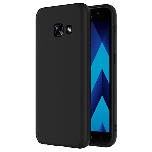AICEK Samsung Galaxy A3 2017 Hülle, Schwarz Silikon Schutzhülle für Samsung Galaxy A3 2017 Case TPU Bumper Samsung Galaxy A3 2017 Handyhülle (4.7 Zoll)