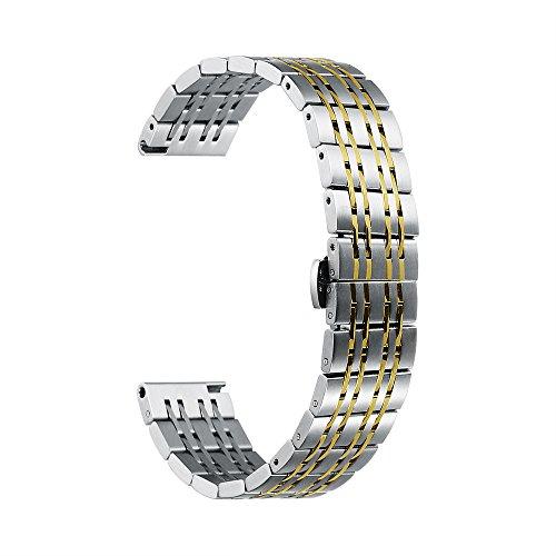 iStrap Uhrenarmband Armbanduhr Edelstahlarmband aus Edelstahl 22mm 20mm 18mm Ersatzarmband für Herrenuhr Silbergold