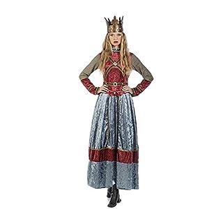 Elbenwald Vestido de la Reina Isabell Damenkostüm con la Corona Azul Rojo - M
