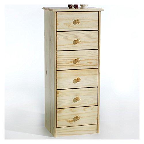 IDIMEX Kommode Hochschrank Anrichte Rondo, 6 Schubladen, Kiefer massiv, Natur lackiert