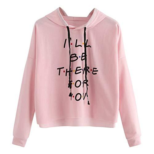 KIMODO Damen Brief Drucken Sweatshirt mit Kapuze, Frauen Hoodie Pullover Bluse Langarm Herbst Winter Oberteile Top (Rosa, S) -