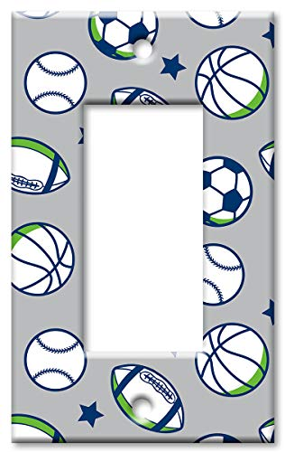 Sportbälle - Übergroße Schalterplatte/Übergröße Rocker Mehrfarbig - 2 Rocker Wall Plate