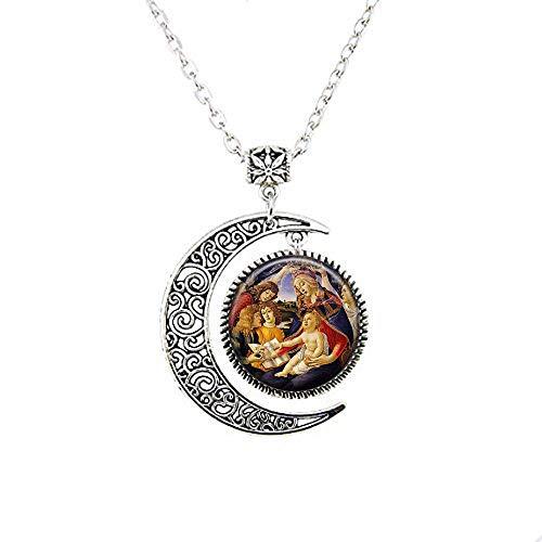 Collar con colgante de la Virgen de la Virgen de Guadalupe con diseño de luna