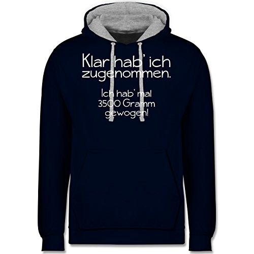 Statement Shirts - Klar hab' ich zugenommen - Kontrast Hoodie Dunkelblau/Grau  meliert