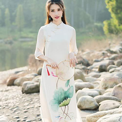 MEIZIZI Chinesisches Traditionelles Kleid Frauen-Frühlings-Herbst-Ethnisches Lotus-Muster-Kleid-Kostüme Mandarinkleid, XL (Ballkleid Kostüm Muster)