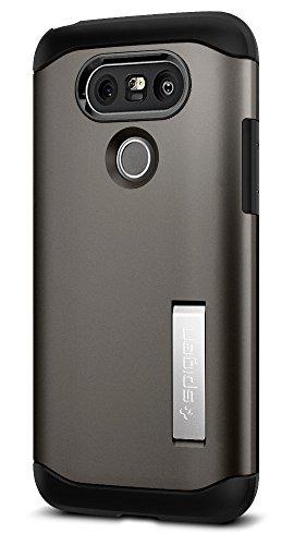LG G5 Hülle, Spigen® [Slim Armor] Integrierter Kickstand [Gunmetal] 2teiliges Doppelschicht Schutz Handyhülle mit Luftpolster Air Cushion Technologie an den Kanten Schutzhülle für LG G5 Case Cover Gunmetal (A18CS20130)