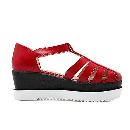 VogueZone009 Damen Schnalle Pu Leder Rund Zehe Mittler Absatz Rein Pumps Schuhe Rot