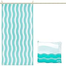 Toalla De Microfibra para Playa Diseño Ondas - Verde Grande 160