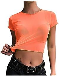 VJGOAL Moda para Mujer de Color sólido Fluorescente O-Cuello de Manga Corta Tops de Verano Sexy Malla Perspectiva Camisetas