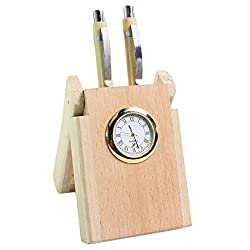 Wooden Watch cum 2 Pen Stand, wooden pencil holder,Perfect for Office n Home Desk,Gift for Christmas or Birthday