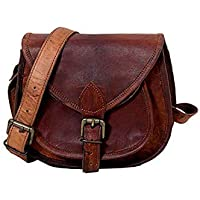 Shakun Leather Handmade Womens Vintage Genuine Brown Cross Body Bag, 11 inch