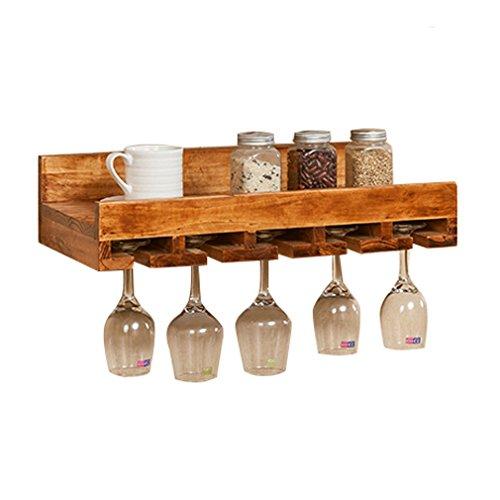 Betty & Co Wandmontiertes Weinregal aus Holz mit Weinglashalter, rustikales Weinregal, Stemware...