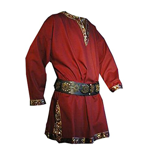 Tunika mit kurzem Arm, rot, Größe XL Mittelalter