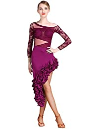 JRYYUE Donna in Pizzo Gonna da Ballo Latino con Vestiti Salsa Samba Tango  Ballroom Party Dress 458885b6ca4