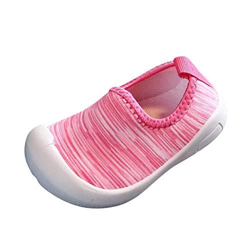 HDUFGJ Kinder Jungen Mädchen Sneaker Elastisches Tuch Set Füße Freizeitschuhe Wanderschuhe Atmungsaktiv Laufschuhe Outdoor Klettverschluss Sneaker Turnschuhe Hallenschuhe Schuhe24 EU(Rosa)