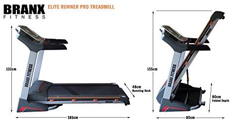 41PFNl1k0NL - Branx Fitness Foldable 'Elite Runner Pro' Soft Drop System Treadmill - 6.5HP Motor 0-22 Level Auto Incline - 'Dual Shock 10-Point Absorption System